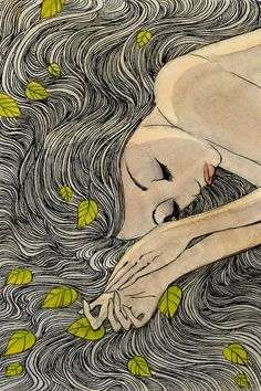 laying with leaves in her hair