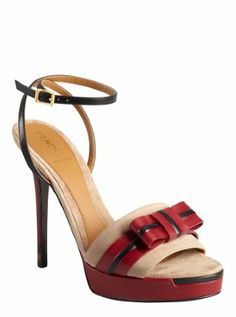 red leather and beige suede bow open toe ankle strap platform sandals