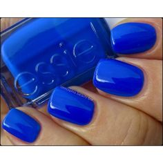 Essie Bouncer, It's Me (Neon 2013 Collection) ommorphia beauty bar ❤ liked on Polyvore featuring beauty products, nail care, nail polish, nails, makeup, beauty, neon nail polish, cobalt blue nail polish, essie and essie nail color