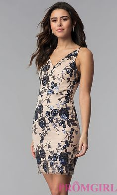 Short Tan Floral-Sequin V-Neck Party Dress