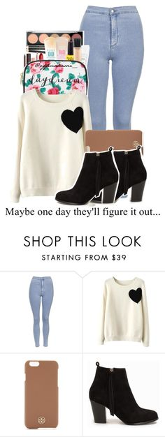 """""""So I'll keep quiet"""" by genisnotonfire ❤ liked on Polyvore featuring moda, Topshop, WithChic, Tory Burch e Nly Shoes"""