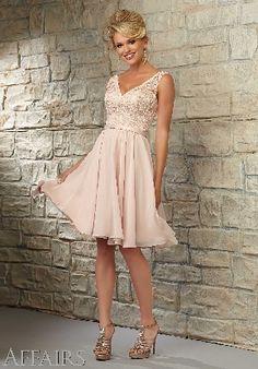 A-line V-back Chiffon Lace Blush/Nude V-neck Knee Length Sleeveless Prom Dress/Bridesmaid dress AF 31054