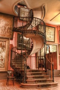 Traditional Staircase with Spiral staircase, Custom Curved Staircase, High ceiling, Hardwood floors