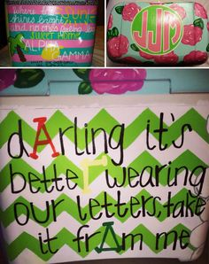 Painted Coolers | Alpha Gamma Delta | Darling it's better wearing our letters, take it from me. AGD, Alpha Gam. #chevron #coolerpainting