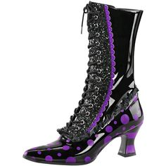 Womens Mid Calf Boots Black Purple Shoes Halloween Witch Boots 2 3/4... ($81) ❤ liked on Polyvore featuring shoes, black shoes, kohl shoes, wide width high heel shoes, high heel shoes and high heeled footwear