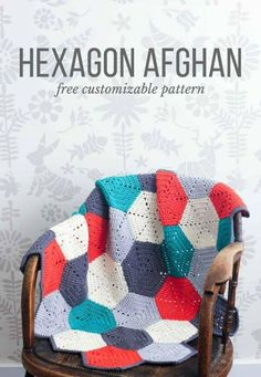 Crochet Afghan Blanket Hexagon Pattern - Learn to crochet a yarn blanket in a beautiful geometric design with this DIY tutorial!