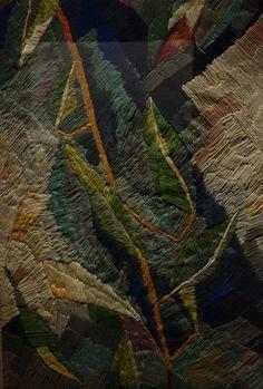 Sonia Delaunay. Broderie de feuillages, 1909. Broderie de laine sur canevas ; 83,5 × 60,5 cm. Paris, collection du Centre Pompidou, Mnam / Cci Donation de Sonia et Charles Delaunay en 1964.