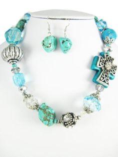 Gorgeous Side Cross stoned necklace set by RainingRustic on Etsy, $20.00