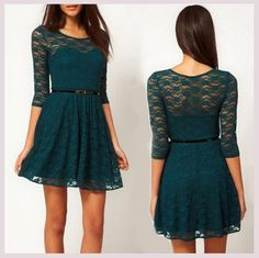 Lace Slim Sleeve Dress With Belt