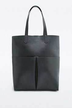 Structured Double Pocket Black Tote Bag - Urban Outfitters