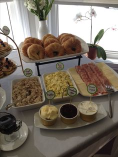 Croissant bar!! Great baby shower brunch or lunch idea. Could do egg and chicken salads, roasted veggies, caprese, cold cuts, etc