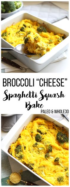 """This Broccoli """"Cheese"""" Spaghetti Squash Bake is a great way to celebrate fall comfort food with none of the guilt! With a cheese sauce made from butternut squash this is Paleo and Whole30!"""