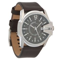 Black leather strap watch from Diesel, with a round stainless steel face featuring glow in the dark hour markers and date display. Debenhams, Diesel, Black Leather, Stainless Steel, Watches, Brown, My Style, Black Patent Leather, Wristwatches