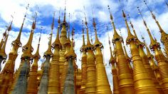 Zedi, in Myanmar in various states of repair constructed in 17th and 18th centuries