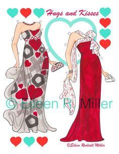 Muñeca de papel de San Valentín por PaperDollsbyERMiller en Etsy