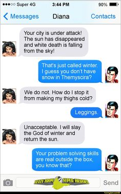 Replace Supes with Steve Trevor and that's basically the plot of the movie. (Still loved it, though.) Superhero Memes, Superhero Villains, Batman Jokes, Comic Villains, Text Messages, Comic Text, Justice League, Funny Clips, Texts From Superheroes