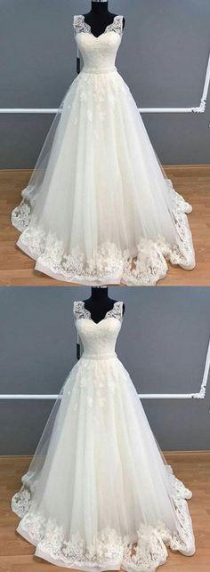Elegant A-Line V-Neck Sleeveless White Long Prom/Wedding Dress With Lace P1001 #weddingdresses #longweddingdresses #2018weddingdresses #fashionweddingdresses #charmingpromdresses #2018newstyles #fashions #styles #hiprom #whiteweddingdress