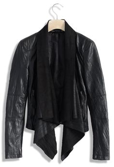 Milky Way Leather Jacket with Waterfall Drape - Retro, Indie and Unique Fashion
