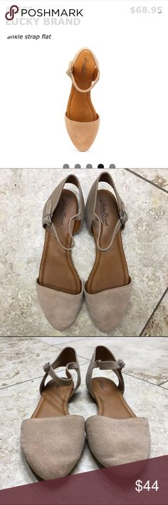 Abbee Lucky Brand Ankle Strap flat in wheat These shoes are in perfect condition, so gently used that there is no sign of wear other than a little dust on the bottoms. They will be your go to shoes! Lucky Brand Shoes Flats & Loafers