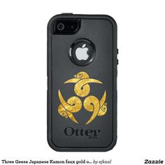 Three Geese Japanese Kamon faux gold on black OtterBox iPhone 5/5s/SE Case