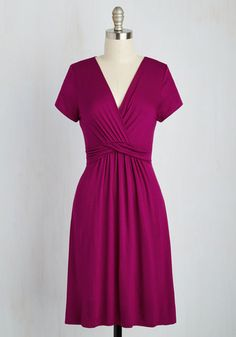 Twist the Night Away Dress - Pink, Solid, Casual, A-line, Short Sleeves, Spring, Knit, Good, Mid-length, Jersey