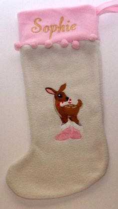 Reindeer in boots with candy cane machine embroidery design Christmas stocking.