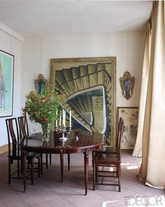 La Vie en Rose: A watercolor by Szafran behind a 19thcentury English table and 18thcentury Chinese chairs in the dining room.
