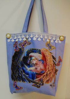 Sale 75 Off Tote Bag Blue Canvas Hand Painted Angel #Fabric #Applique Design by paulagsell, $12.00 SALE!!!! #Circle1
