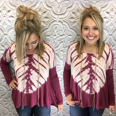 This wine colored tie dye top is already a staff fave! (small-large)  Swing by and shop all of our new arrivals until 6:00pm!