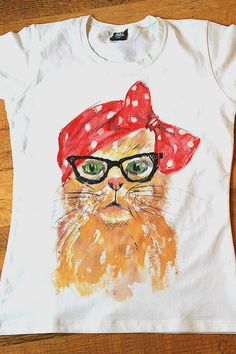 Handpainted Tshirt with Cat Glasses and Red by palettePandora