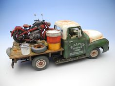 "AMT 1/25 scale 1953 Ford F-100 Pickup truck + TASCA 1/24 scale Zündapp KS750. By ""Doozy"" Yasu OKUGAWA. #motorcycle  #model_cars #scale_model"