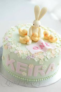Cutest Bunny Birthday Cake For One Year Old