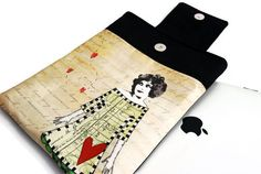 Padded case for iPad in Love Girl iPad sleeve cover by LilachOren