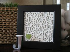 DIY Framed Letters ~ It looks so easy & you could play it up and put other things in it like a heart or any shape you please!  :)