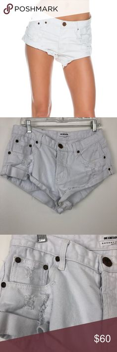 """One Teaspoon The Bandits White Denim Shorts One Teaspoon White The Bandits Shorts.  Distressed style.  100% Cotton.  Approx 2"""" inseam.  Excellent condition.  A3. One Teaspoon Shorts Jean Shorts"""