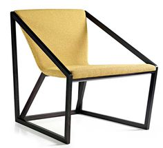 Kite  Design Shin Azumi  Fornasarig.    It looks like a traditional box kite. It is delicate and lightweight, while simultaneously retaining a strong structural beauty. At first glance, this slender lounge appears to be too fragile to sit in. However, due to its masterly construction, the slim seat is able to support a significant weight in a comfortable and relaxed way. Sitting on it, one fells embraced and like floating in the breeze.