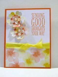 Perfect Pennants Stamp Set, Water Color Wonder DSP, Whisper White, Tangerine Tango, Large Basic Pearl, Ribbon