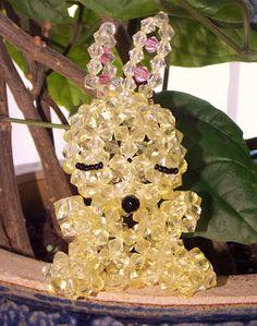 Dimensions: 16 x 5 x 4 cm Materials: 6 mm yellow acrylic beads, 6 mm pink acrylic beads, 6 mm black round acrylic bead, mm c. Pink Acrylics, Acrylic Beads, Bunny, Rabbit, Hare, Rabbits, Bunnies