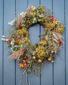 autumn dried flower wreath the real flower company #autumn #wreath #dried #flowers #harvest #frombritainwithlove