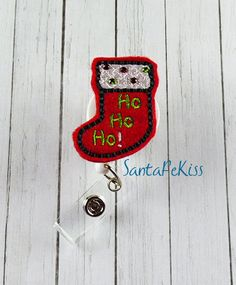 Christmas Badge Reel, Christmas Stocking with Rhinestones, Felt Badge Reel, retractable badge holder, badge clip, badge pull - pinned by pin4etsy.com