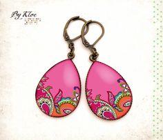 Boucles d'oreilles pendantes Cabochons • Motif Cashmere • goutte rose orange vert blanc verre