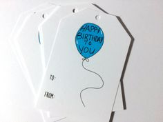 Birthday Gift Tags, Balloon Gift Wrap, Hanging Tags, To From, made on recycled paper by ladybugonaleaf on Etsy
