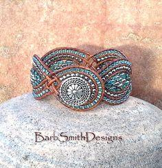 Blue Turquoise Aqua Silver Beaded Leather Cuff Wrap Bracelet