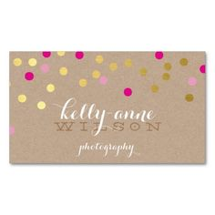 CONFETTI GLAMOROUS cute gold foil bold pink kraft Business Cards - Simply type in info and order! No logo needed!