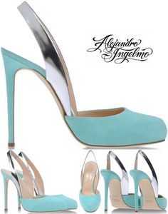 Ingelmo's Spring 2013 collection is one of his best yet. This slingback is the Monica slingback featuring aqua suede, round toe and mirrored silver patent leather slingback strap. Half sizes are available. You can also find Monica in taupe at Alejandro Ingelmo.