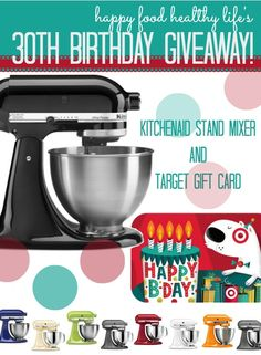 KitchenAid Mixer and Target Gift Card Giveaway! - Crazy for Crust It's my #Birthday and I'd LOVE to win!! I've been in dire need of a good stand mixer forever, and this would be an awesome bday gift!!