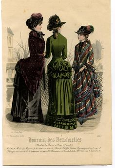 Fashion Plate, December 1882 - A large, beautiful hand-colored engraving from Journal des Demoiselles, No. 4392. Two fashionably dressed ladies and a young girl walking in costume linger in an urban environment. The left shown lady wears a parasol. During this period develops the so-called second tournure, a support under clothing, with an accent on the back, which yields a slightly angular silhouette. The foot free dress of the young girl just let her see shoe covers. -   Artist: A…