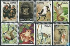 Postage Stamps - Rwanda - Monkeys