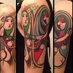 Picasso Tattoo, By Allen Tattoo. Mirror Tattoos, Love Tattoos, Unique Tattoos, Picture Tattoos, Body Art Tattoos, Awesome Tattoos, Tatoos, Picasso Tattoo, Painting Tattoo
