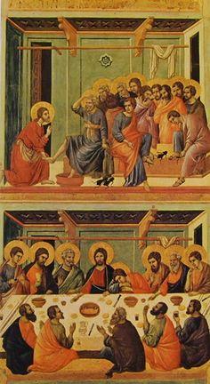 Duccio di Buoninsegna - Maestà  - Retro - Lavanda dei piedi e Ultima cena - 1308-11 - Tempera e oro su tavola - Museo dell'Opera del Duomo, Siena